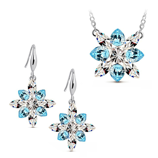 Bridal Crystal Snowflake Pendant Jewelry Sets Necklace Earrings Fine Jewelry