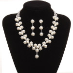 Bridal Pearl Crystal Necklace Earrings Wedding Jewelry Set Fine Jewelry