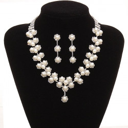 Bridal Pearl Crystal Necklace Earrings Wedding Jewelry Set
