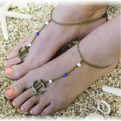 Bronze Anchor Beads Anklet Foot Beach Bracelet For Women