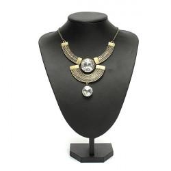 Bronze Vintage Moon Crystal Statement Necklace Metal Choker