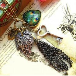 Bronze Vintage Peacock Feather Heart Leaf Key Tassel Sweater Necklace