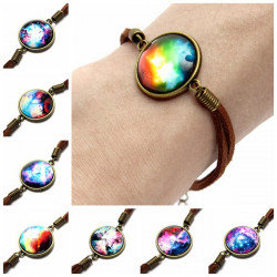 Brown Universe Galaxy Glass Cabochon Charm Leather Rope Bracelet