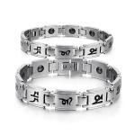Buddhist Mantra Titanium Steel Energy Magnetic Stone Couple Bracelet Fine Jewelry
