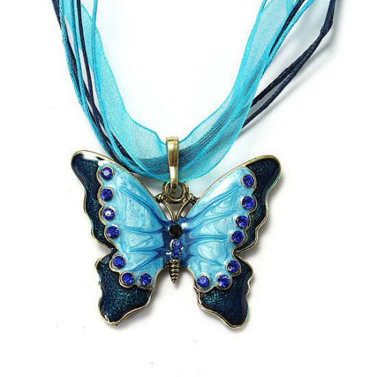 Butterfly Rhinestone Necklace Silk Ribbon Chain Clavicle Necklace 2021