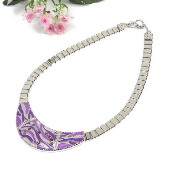 Carve Rhinestone Geometric Alloy Earrings Necklace Jewelry Set