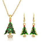 Christmas Tree Santa Claus Enamel Jewelry Set Necklace Earrings Women Jewelry