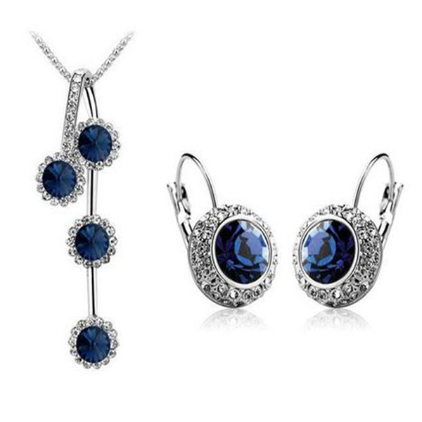 Circle Crystal Earrings Necklace Jewelry Sets Silver Gold Plated Women Jewelry