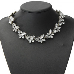 Clear Crystal Leaf Bib Statement Necklace Metal Chain Choker
