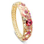 Cloisonné 18K Gold Plated Crystal Enamel National Wind Bangle Bracelet Fine Jewelry