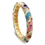 Cloisonné 18K Gold Plated Rhinestone Enamel National Wind Bracelet Fine Jewelry