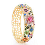 Cloisonné 18K Gold Plated Rhinestone Hollow Flower Leaf Wide Bracelet Fine Jewelry