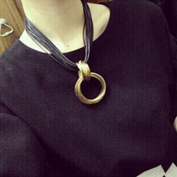Cluster Vintage Cross Alloy Circle Pendant Leather Chain Necklace