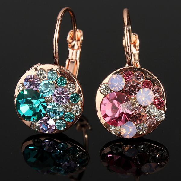 Colorful Austrian Crystal Round Stud Earrings 18K Rose Gold Plated Women Jewelry
