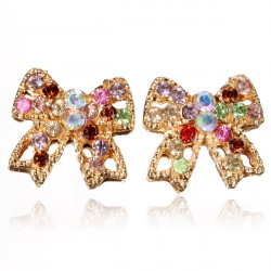 Colorful Crystal Rhinestone Bowknot Gold Plated Earrings Ear Stud