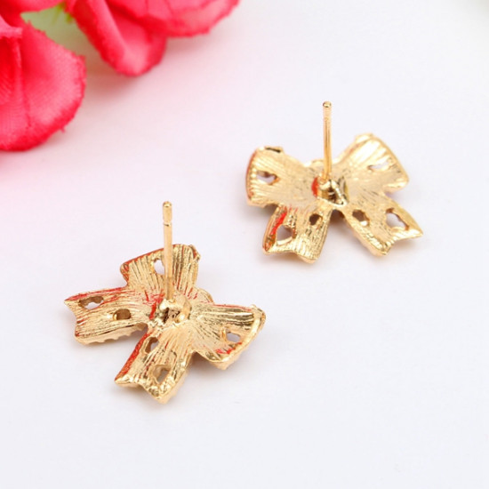 Colorful Crystal Rhinestone Bowknot Gold Plated Earrings Ear Stud 2021