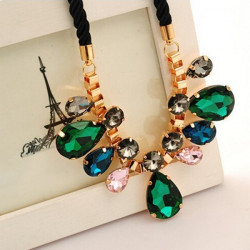 Colorful Crystal Water Drop Black Cord Pendant Choker Necklace
