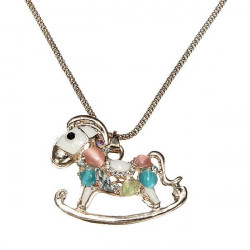 Colorful Opal Rhinestone Hollow Horse Pendant Chain Necklace