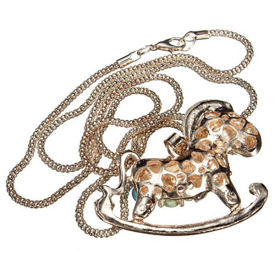 Colorful Opal Rhinestone Hollow Horse Pendant Chain Necklace 2021