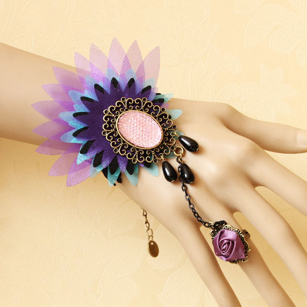 Colorful Peacock Lace Flower Crystal Ring Bracelet Wristband Women Jewelry