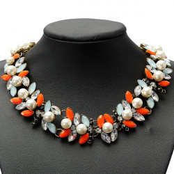 Colorful Pearl Crystal Leaf Bib Statement Necklace Choker Metal Chain