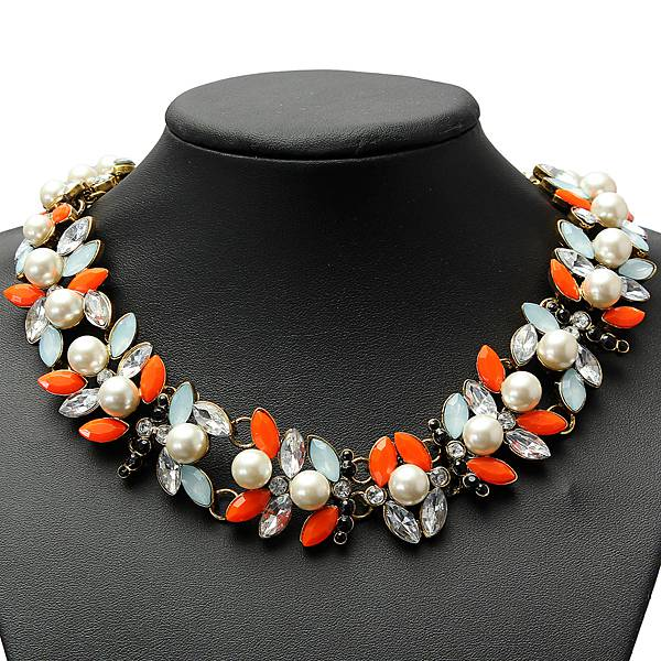 Colorful Pearl Crystal Leaf Bib Statement Necklace Choker Metal Chain Women Jewelry