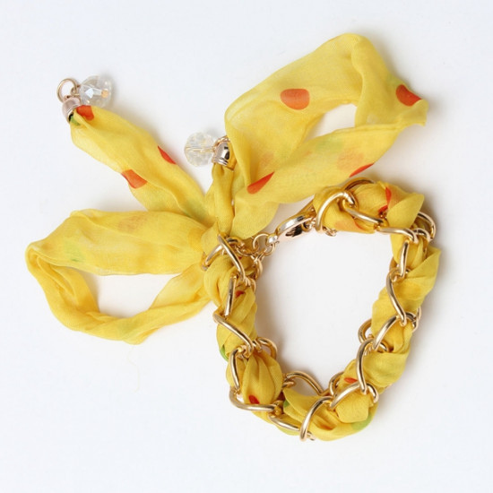 Colorful Ribbon Lace Fabric Bowknot Gold Plated Chain Bracelet 2021
