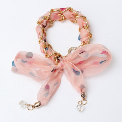 Colorful Ribbon Lace Fabric Bowknot Gold Plated Chain Bracelet