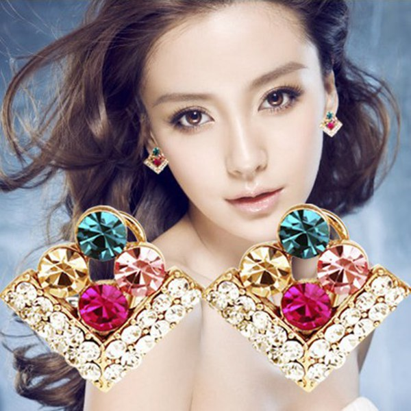 Colorful Sparking Rhinestone Four Leaf Clovers Square Stud Earrings Women Jewelry
