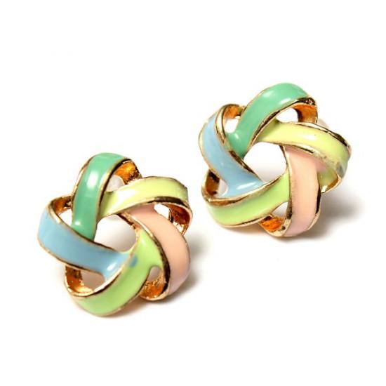 Colorful Spiral Flower Earrings Lovely Alloy Ear Stud Women Jewelry 2021