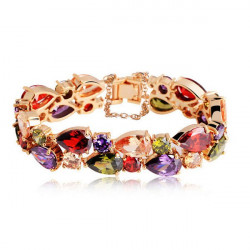 Colorful Zircon Peach Heart 24K Gold Rose Gold Plated Women Bracelet