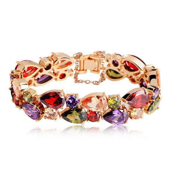 Colorful Zircon Peach Heart 24K Gold Rose Gold Plated Women Bracelet Fine Jewelry