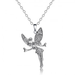Crystal Angel Wings Fairy Pendant Necklace 18K Platinum Plated