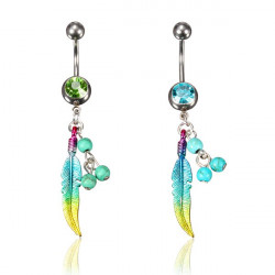 Crystal Beads Feather Dangle Navel Belly Button Ring Piercing Jewelry