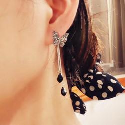 Crystal Black Butterfly Pendant Tassel Drop Earrings For Women