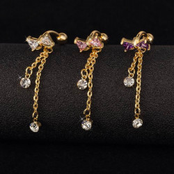 Crystal Bowknot Bow Navel Belly Ring Body Piercing Jewelry