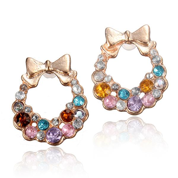 Crystal Bowtie Bow Earrings Women Jewelry