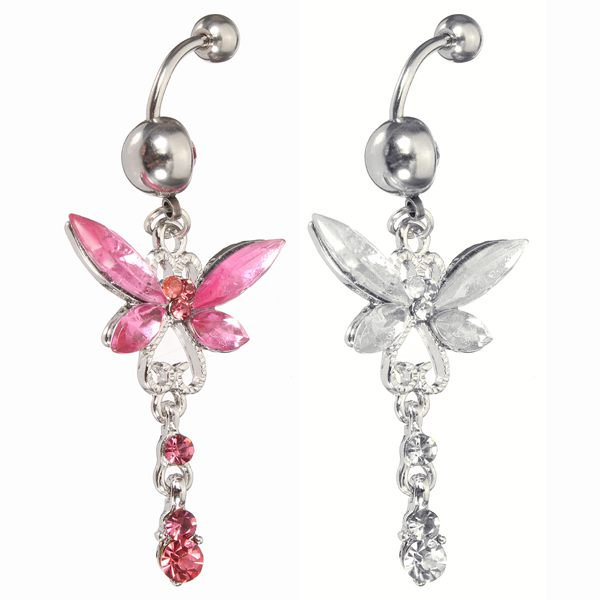 Crystal Butterfly Dragonfly Navel Belly Button Ring Piercing Jewelry Women Jewelry