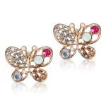 Crystal Butterfly Stud Earrings Women Jewelry