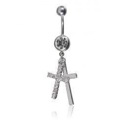 Crystal Double Cross Belly Button Navel Ring Body Piercing