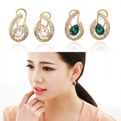 Crystal Drop Rhinestone Stud Earrings 18K Gold Plated Ear Clip