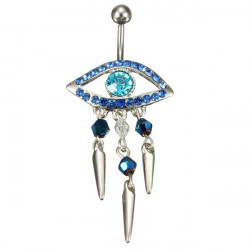 Crystal Evil Eye Tassel Navel Belly Button Ring Piercing Body Jewelry