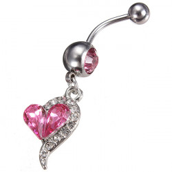 Crystal Heart Barbell Navel Belly Button Ring Body Piercing