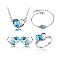 Crystal Heart Pendant Necklace Bracelet Earrings Ring Jewelry Set
