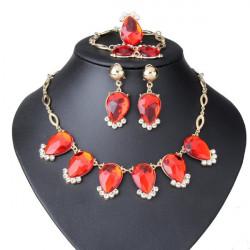 Crystal Heart Water Drop Necklace Bracelet Earrings Ring Jewelry Set