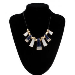Crystal Leather Rope Irregular Geometric Pendant Statement Necklace