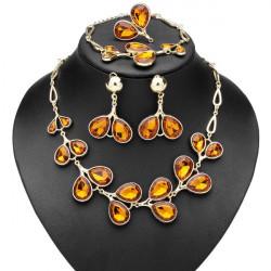Crystal Peach Heart Leaf Necklace Bracelet Earrings Ring Jewelry Set