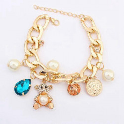 Crystal Pearl Bear Coins Charm Chain Bracelet Gold Plated For Women