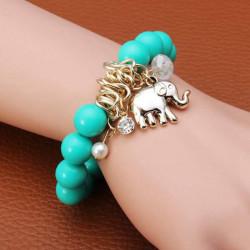 Crystal Pearl Elephant Pendant Beads Charm Bracelet Gold Plated