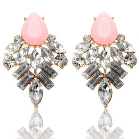 Crystal Resin Geometric Water Drop Stud Earrings For Women 2021